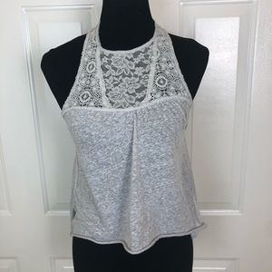 Hollister Women's Gray  Lace Front/Back Sleeveless